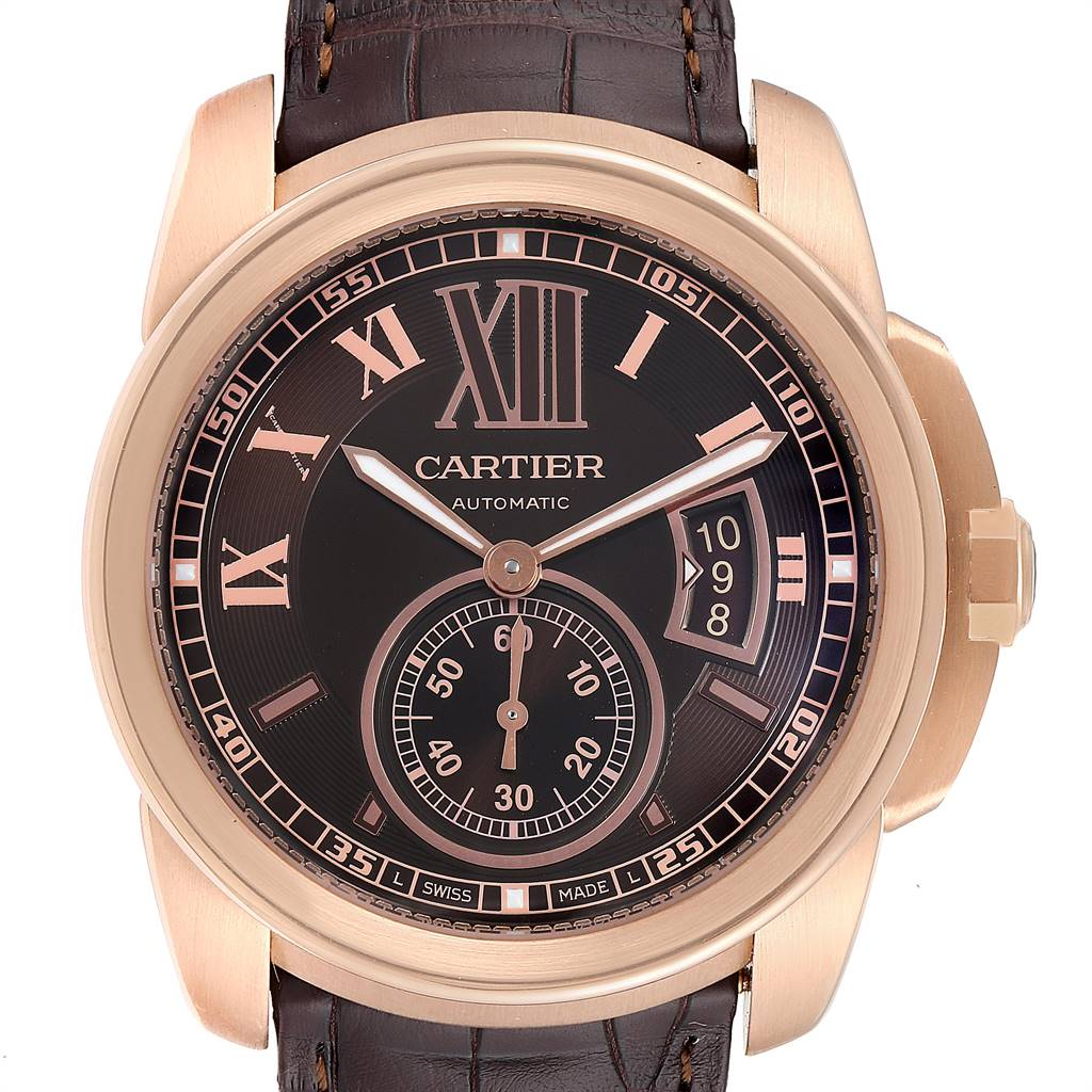 25301 Cartier Calibre Rose Gold Brown Dial Automatic Mens Watch W7100007 SwissWatchExpo
