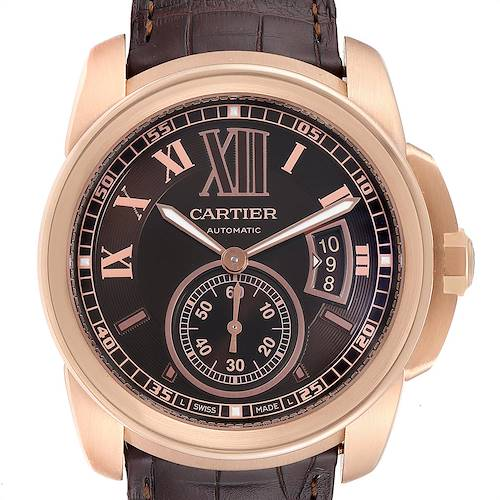 Cartier Calibre Rose Gold Brown Dial Automatic Mens Watch W7100007