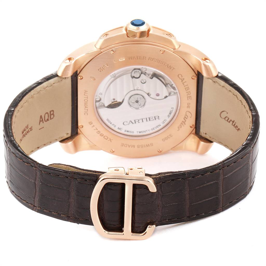 25550 Cartier Calibre Rose Gold Silver Dial Automatic Mens Watch W7100009 SwissWatchExpo