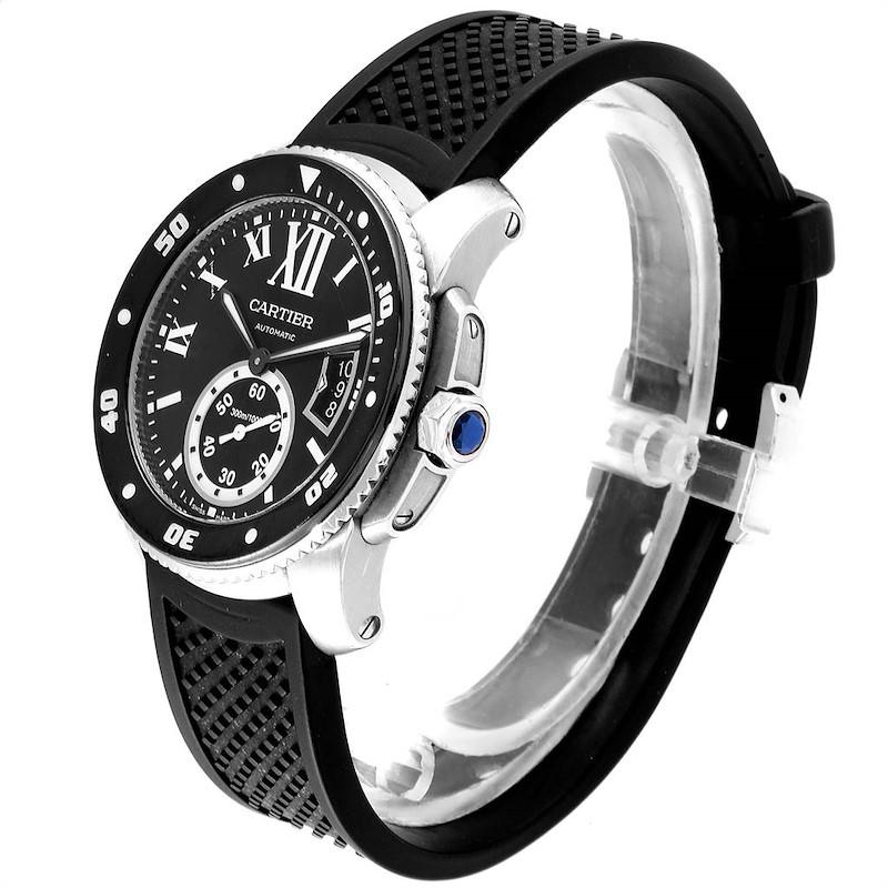 Cartier Calibre Diver Black Rubber Strap Steel Mens Watch W7100056 SwissWatchExpo