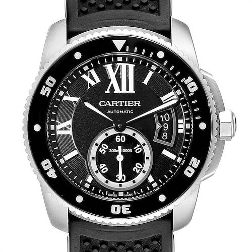 Photo of Cartier Calibre Diver Black Rubber Strap Steel Mens Watch W7100056