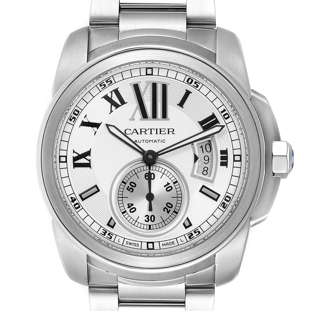 Cartier Calibre Silver Dial Steel Automatic Mens Watch W7100015