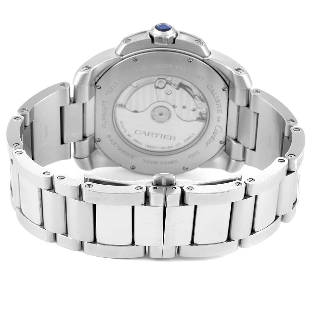 Calibre De Cartier Silver Dial Steel Automatic Mens Watch W7100015 SwissWatchExpo