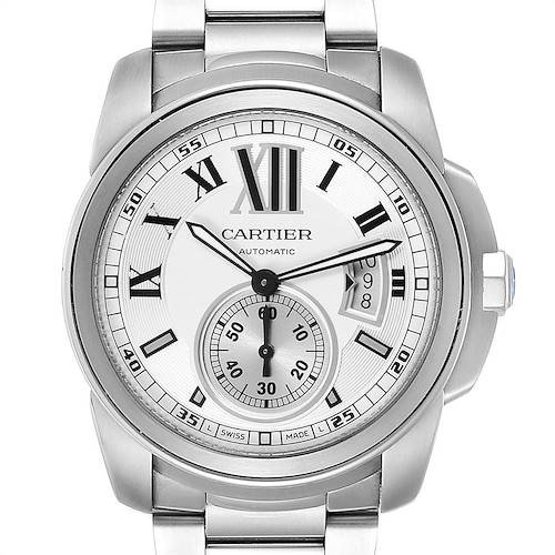 Calibre De Cartier Silver Dial Steel Automatic Mens Watch W7100015