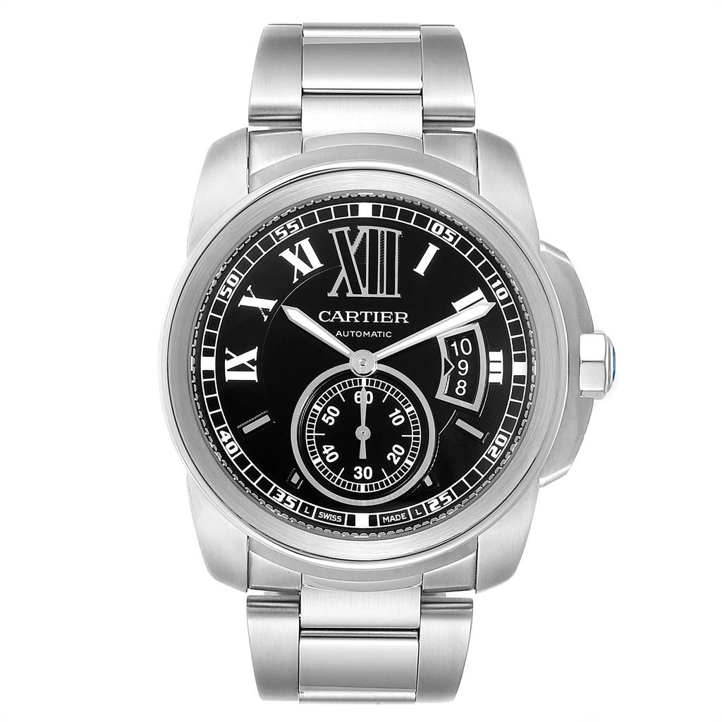Cartier Calibre Black Dial Automatic Steel Mens Watch W7100016 SwissWatchExpo