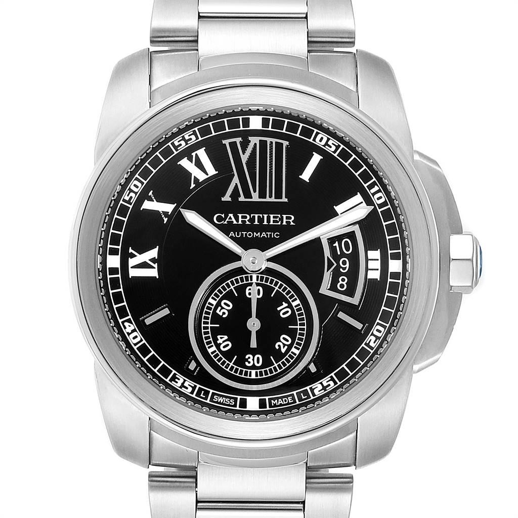 Cartier Calibre Black Dial Automatic Steel Mens Watch W7100016