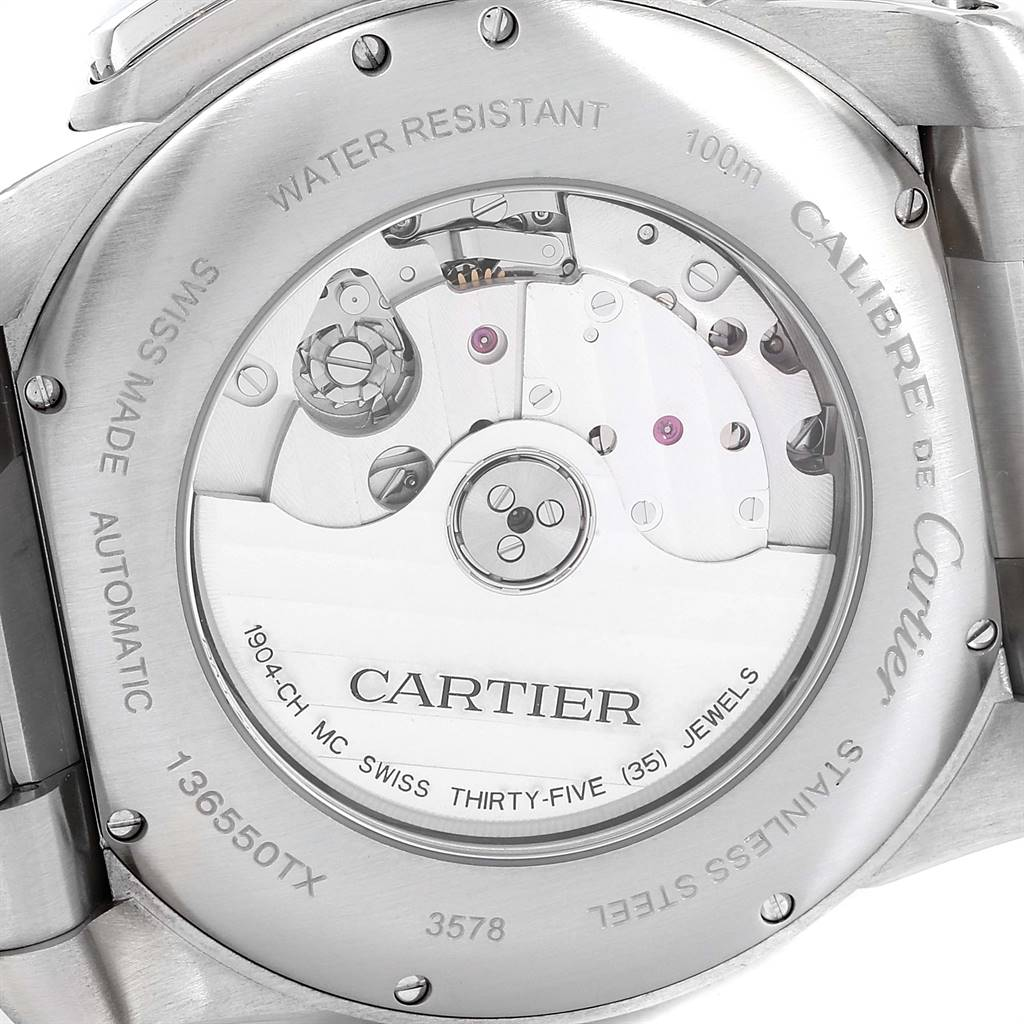 Cartier Calibre Black Dial Cronograph Steel Mens Watch W7100061 SwissWatchExpo
