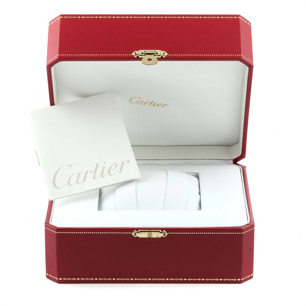Cartier Calibre Black Dial Leather Strap Steel Mens Watch W7100014 SwissWatchExpo