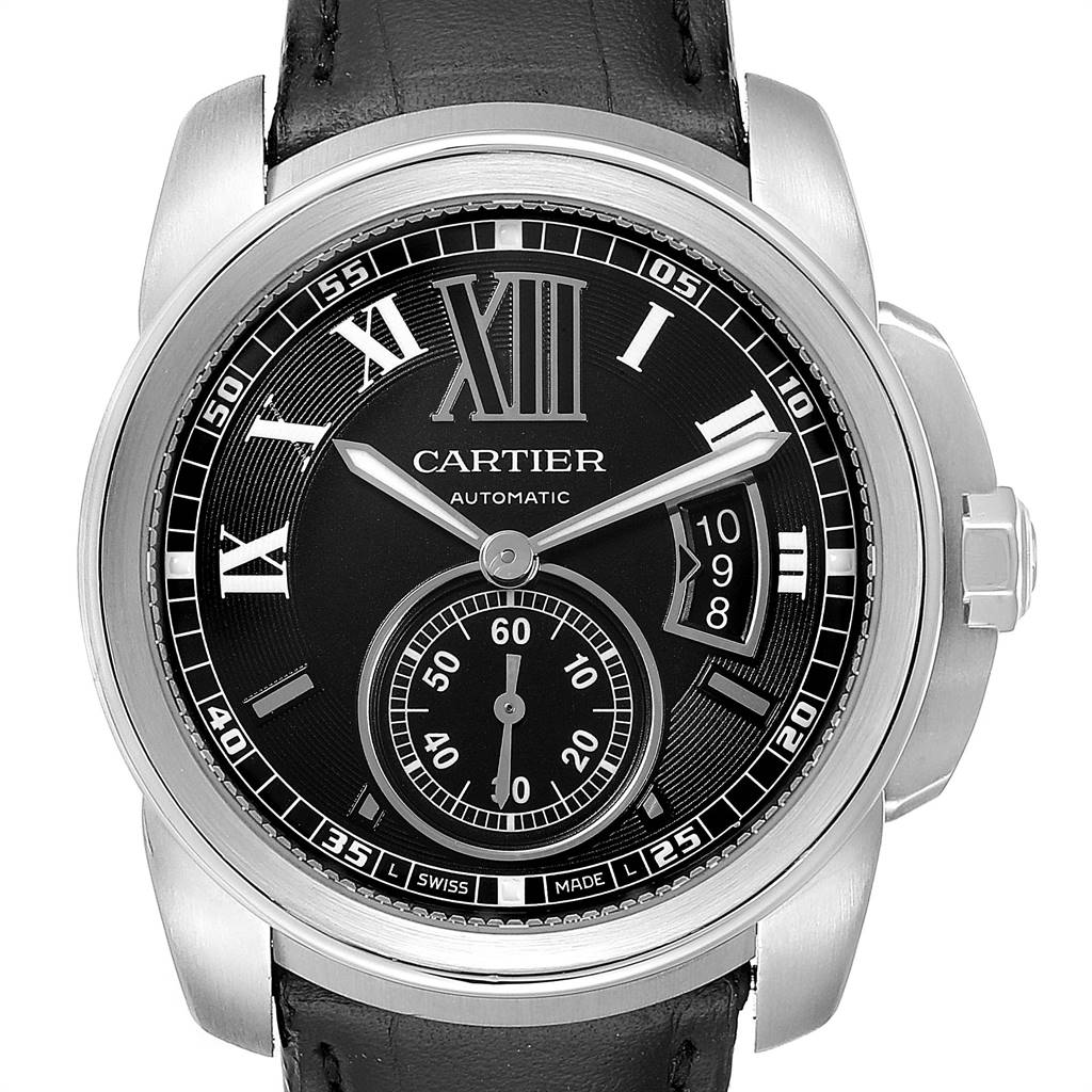 Cartier Calibre Black Dial Leather Strap Steel Mens Watch W7100014