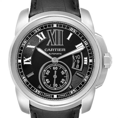 Photo of Cartier Calibre Black Dial Leather Strap Steel Mens Watch W7100014