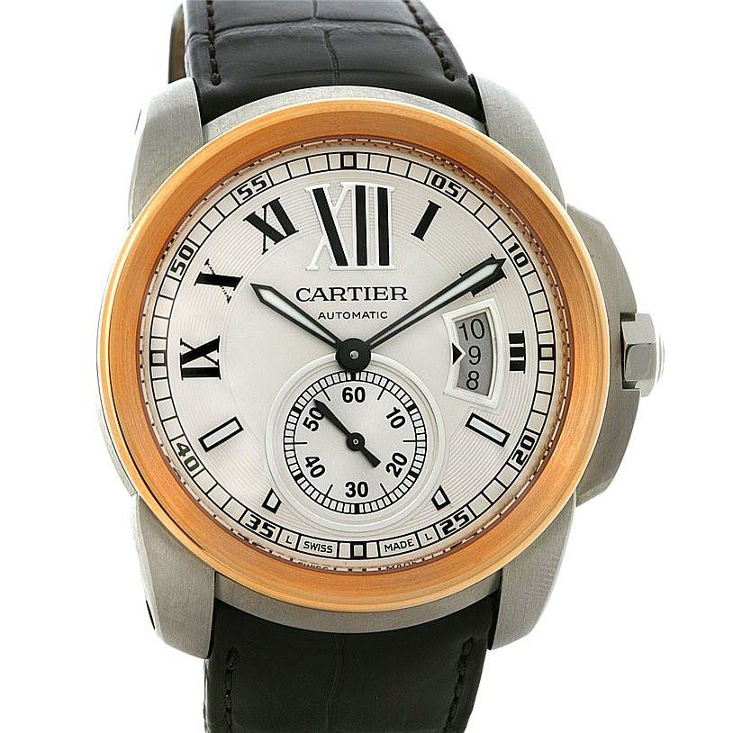 4263 Cartier Calibre 18k Rose Gold Steel Automatic Watch W7100011 SwissWatchExpo