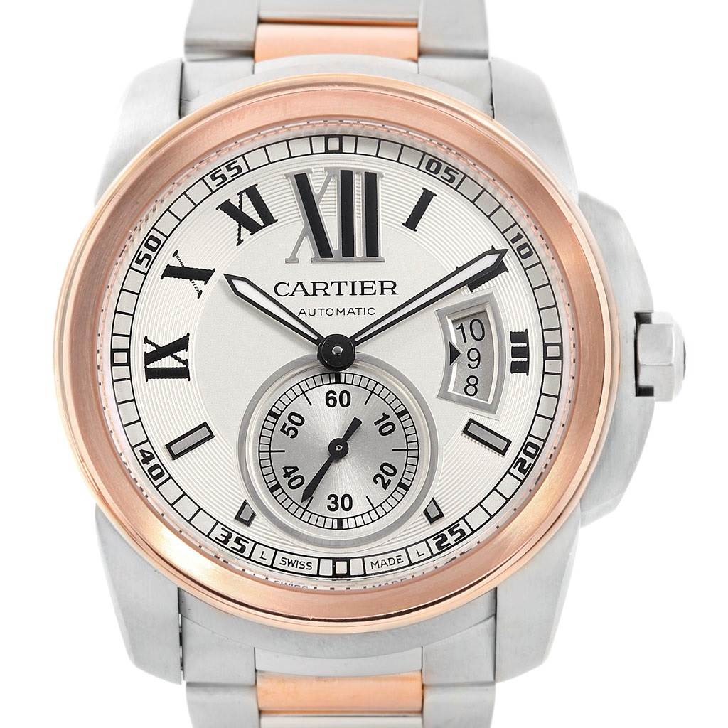 7031 Cartier Calibre Steel 18K Rose Gold Mens Watch W7100036 Box Papers SwissWatchExpo