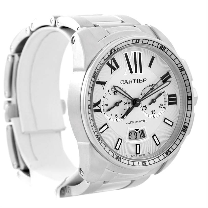 7965 Cartier Calibre Stainless Steel Chronograph Mens Watch W7100045 SwissWatchExpo