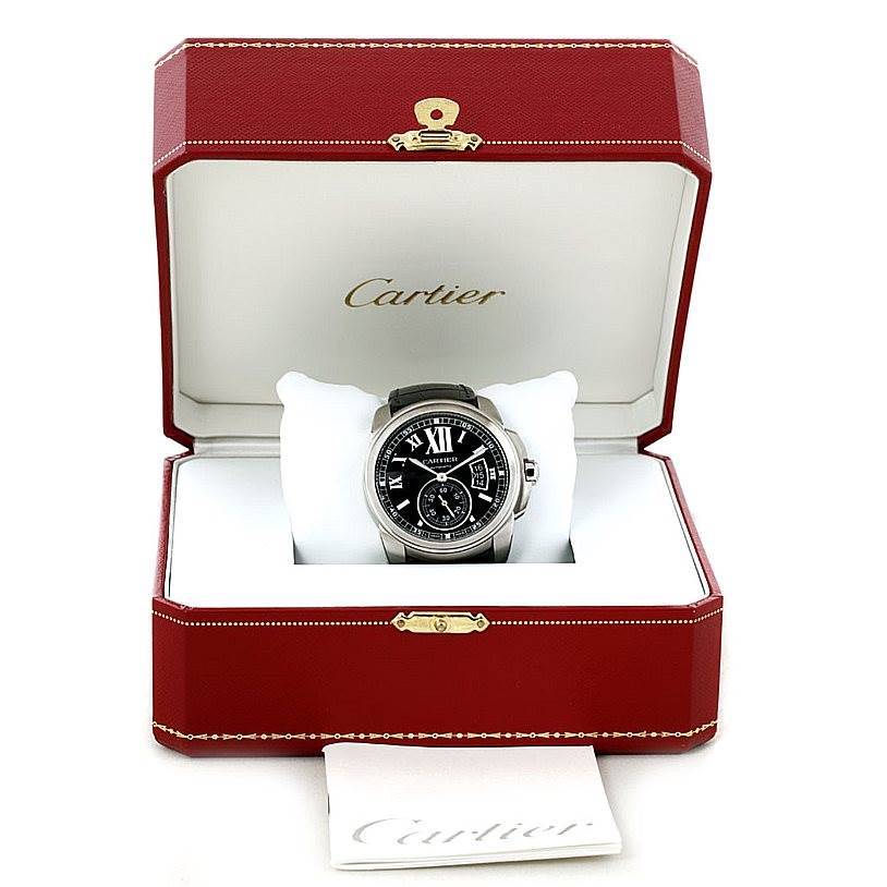 8172 Calibre De Cartier Steel Automatic Mens Watch W7100014 Unworn SwissWatchExpo