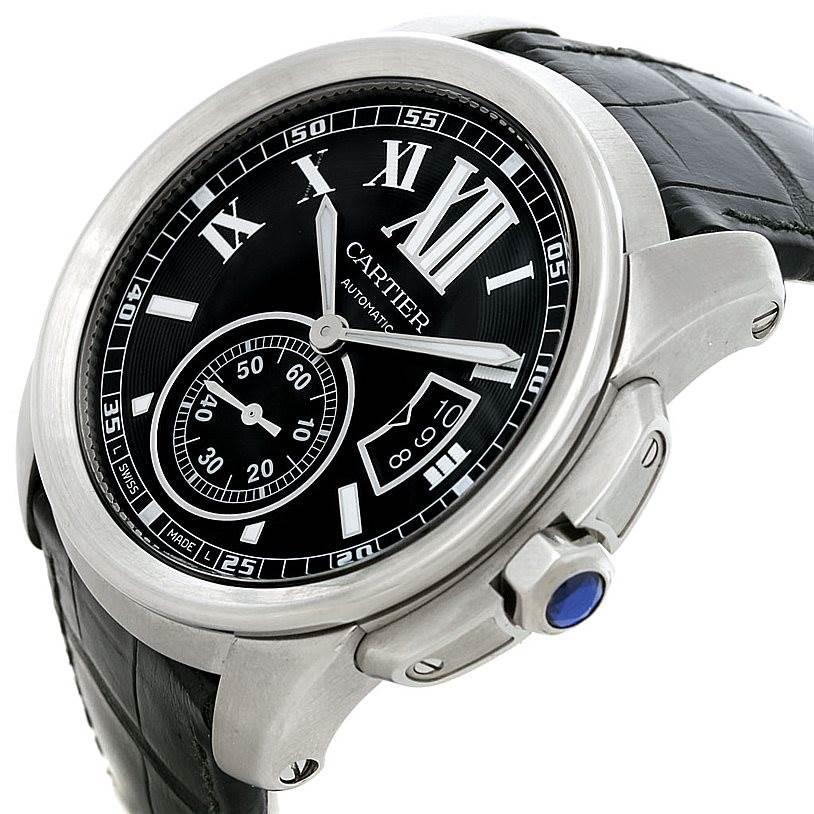 Calibre De Cartier Steel Automatic Mens Watch W7100014 Unworn SwissWatchExpo