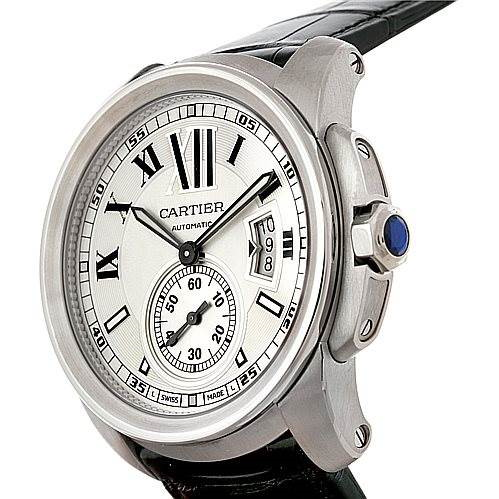 Calibre De Cartier Steel Automatic Mens Watch W7100037 Unworn SwissWatchExpo