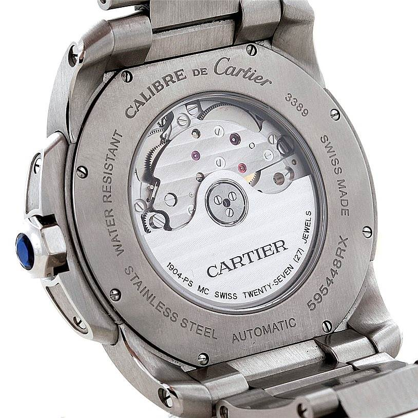 8329 Cartier Calibre Steel Black Dial Mens Watch W7100016 SwissWatchExpo
