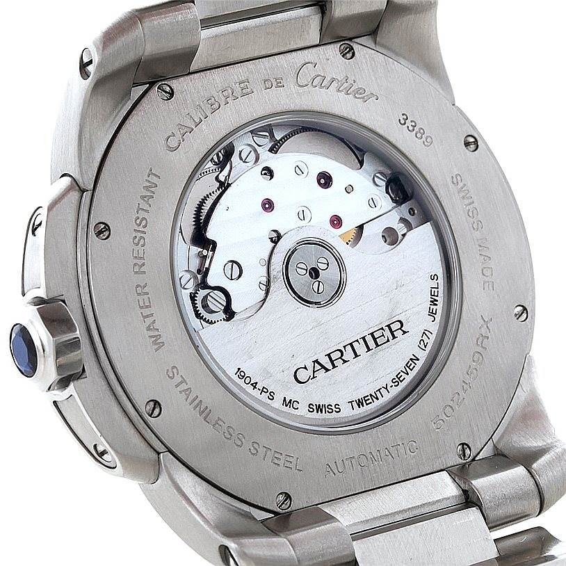 8533 Cartier Calibre Stainless Steel Automatic Mens Watch W7100015 SwissWatchExpo