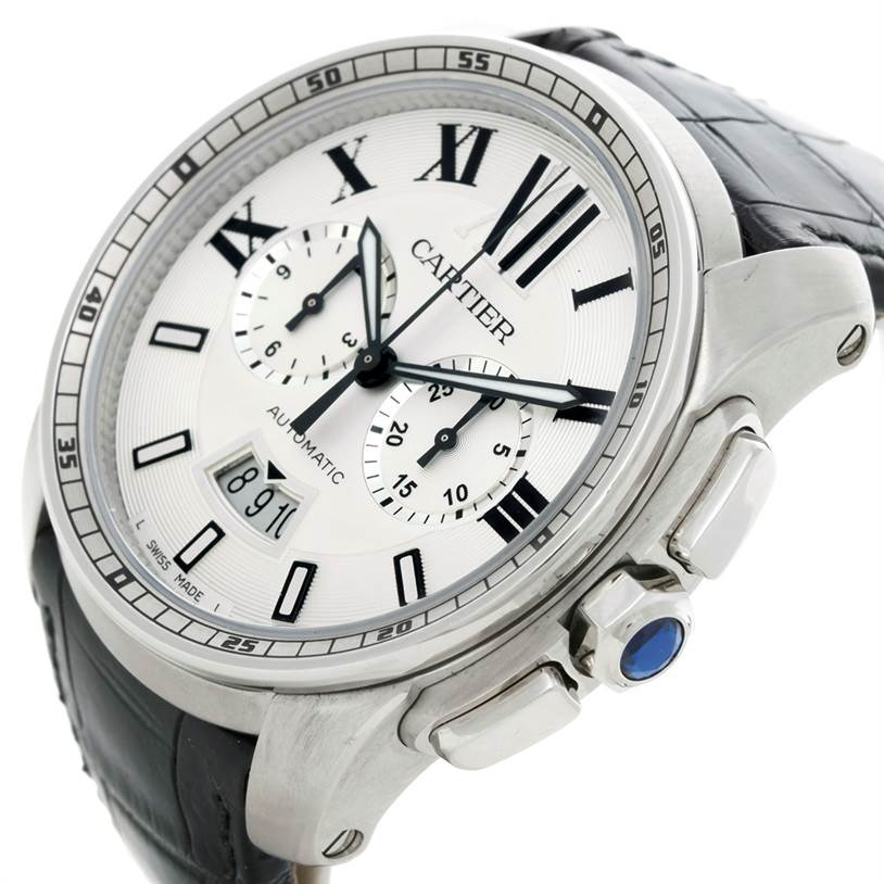 8541 Cartier Calibre Steel Chronograph Mens Watch W7100046 SwissWatchExpo