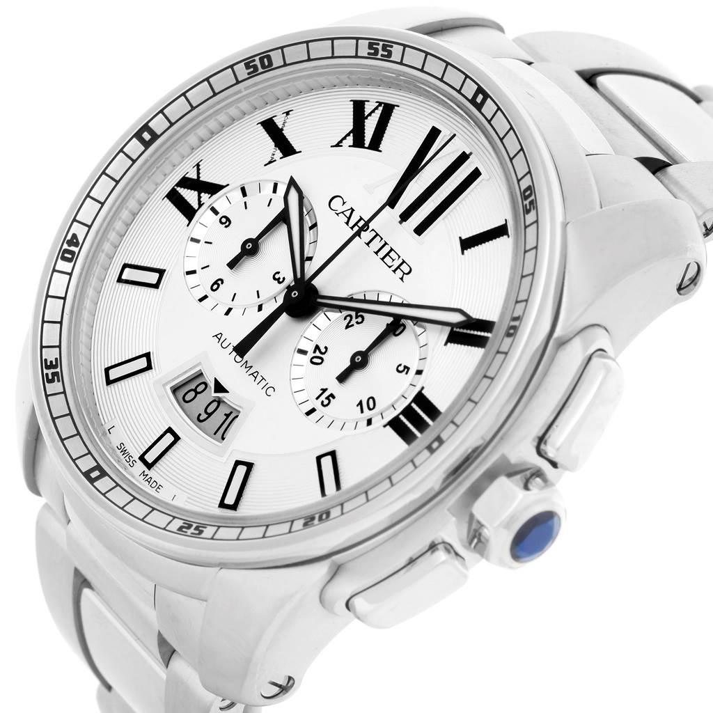 8542 Cartier Calibre Steel Chronograph Mens Watch W7100045 Unworn SwissWatchExpo