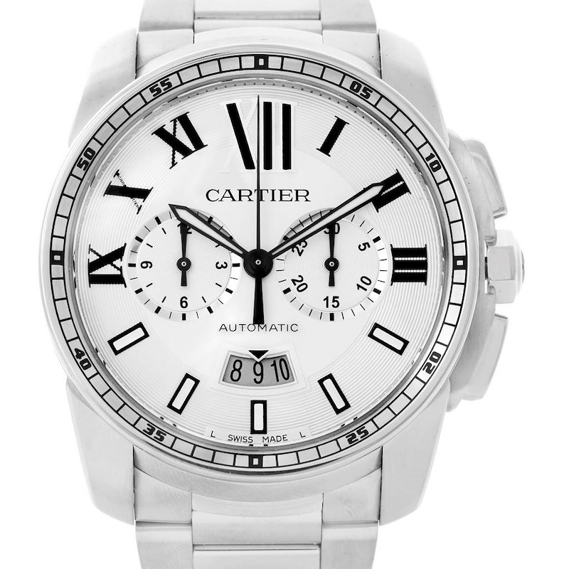 Cartier Calibre Steel Chronograph Mens Watch W7100045 Unworn SwissWatchExpo