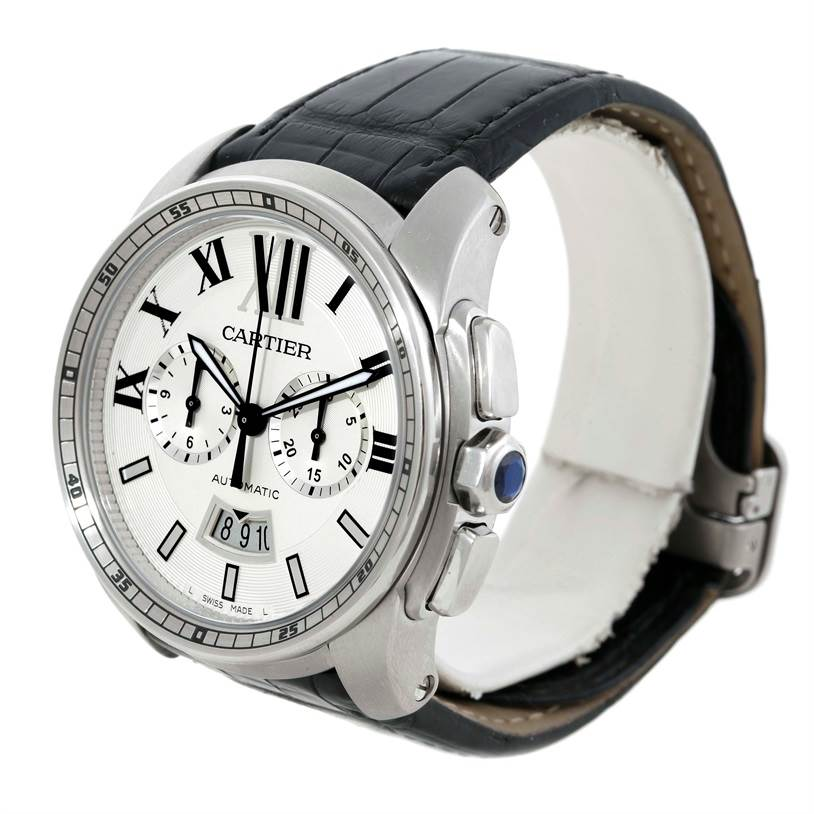 Calibre De Cartier Steel Chronograph Mens Watch W7100046 SwissWatchExpo