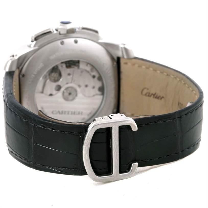 9646 Calibre De Cartier Steel Chronograph Mens Watch W7100046 SwissWatchExpo