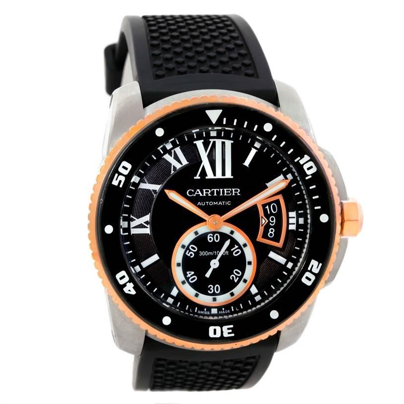 9702 Cartier Calibre De Divers Steel Rose Gold Rubber Mens Watch W7100055 SwissWatchExpo