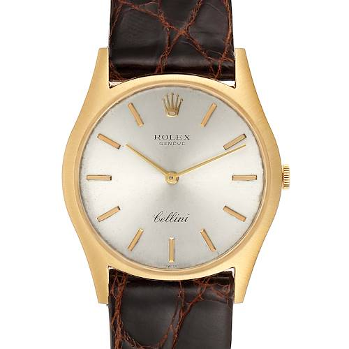 Photo of Rolex Cellini 18k Yellow Gold Silver Dial Vintage Mens Watch 3804
