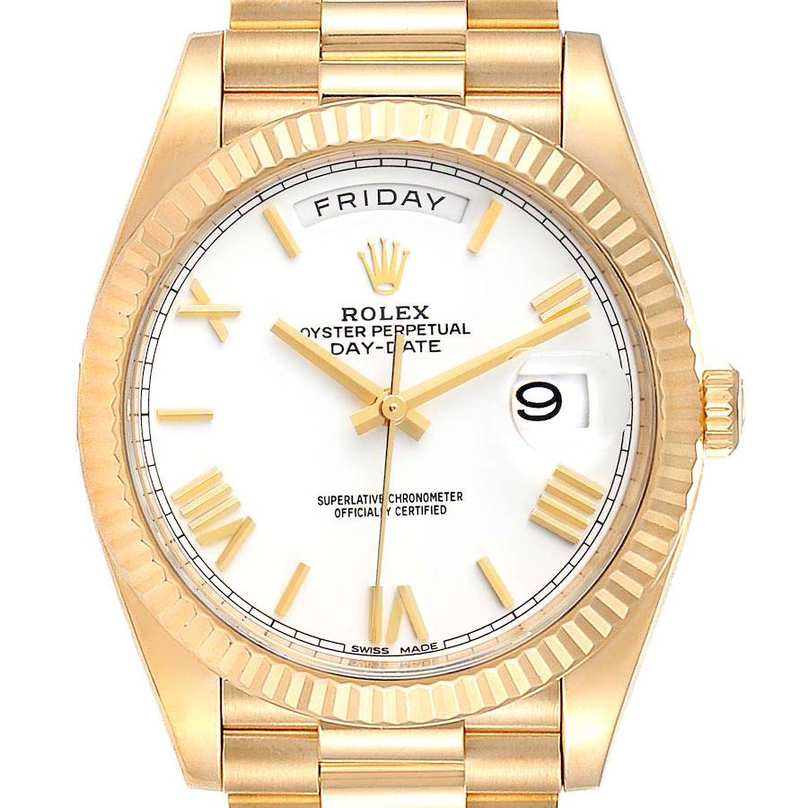 Rolex President Day-Date 40 Yellow Gold White Dial Mens Watch 228238 Box Card SwissWatchExpo