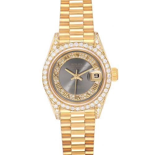 Photo of Rolex President Yellow Gold Myriad Diamond Ladies Watch 69158 Box Papers