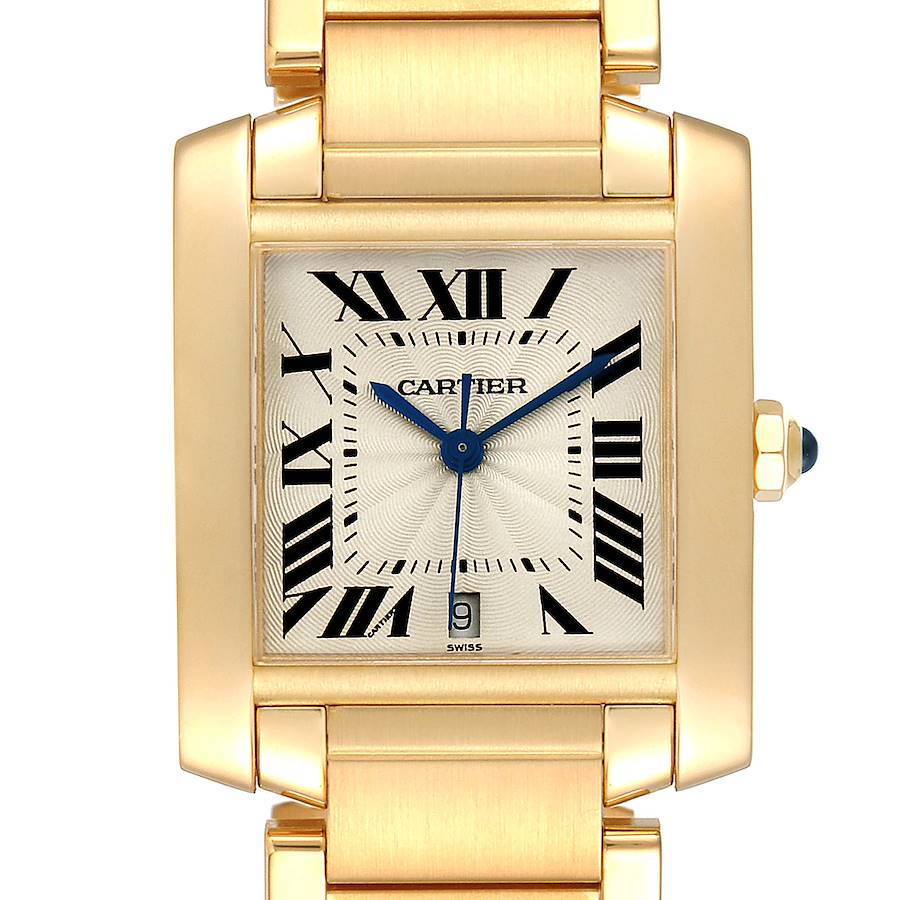 Cartier Tank Francaise Large Yellow Gold Mens Watch W50001R2 Box Papers SwissWatchExpo