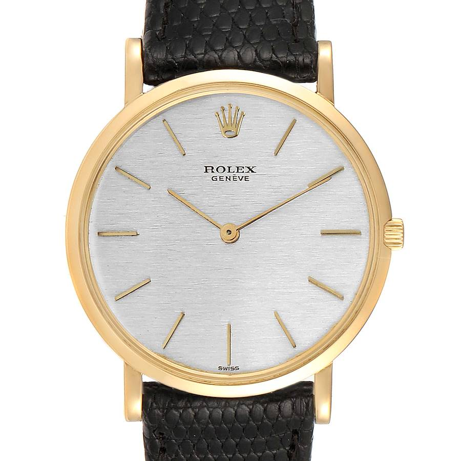Rolex Cellini 18k Yellow Gold Silver Dial Vintage Mens Watch 9576 SwissWatchExpo