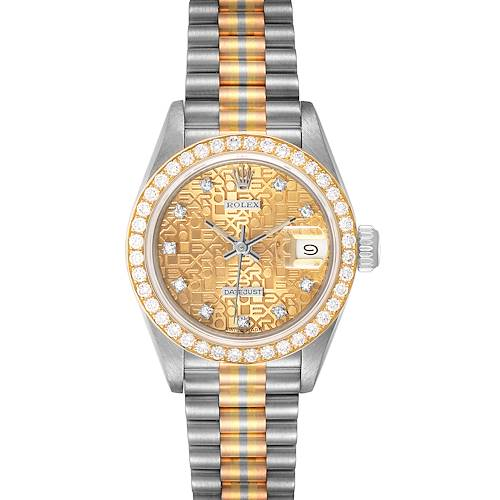 Photo of Rolex President Tridor White Yellow Rose Gold Diamond Ladies Watch 69139
