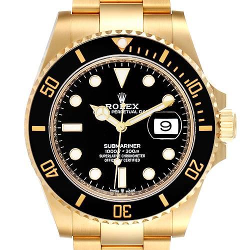 Photo of Rolex Submariner Yellow Gold Black Dial Bezel Mens Watch 126618 Unworn