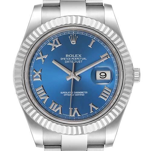 Photo of Rolex Datejust 41 Steel White Gold Blue Dial Mens Watch 116334 Box Card