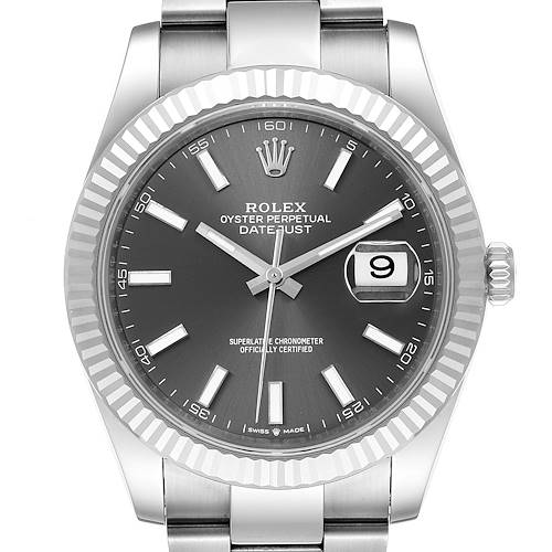 Photo of Rolex Datejust 41 Steel White Gold Rhodium Dial Mens Watch 126334 Unworn