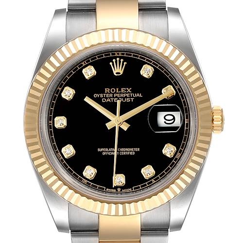 Photo of Rolex Datejust 41 Steel Yellow Gold Black Diamond Dial Watch 126333 Box Card