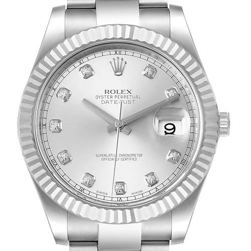 Photo of Rolex Datejust II 41mm Steel White Gold Diamond Mens Watch 116334 Box Card