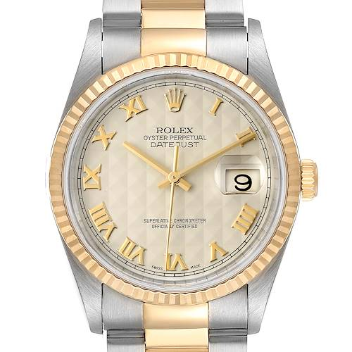 Photo of Rolex Datejust Steel Yellow Gold Pyramid Roman Dial Mens Watch 16233