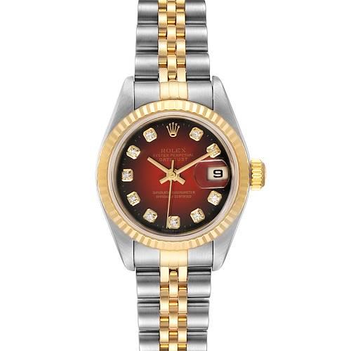 Photo of Rolex Datejust Steel Yellow Gold Red Vignette Diamond Ladies Watch 79173
