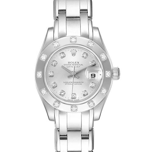 Photo of Rolex Pearlmaster White Gold Silver Dial Diamond Ladies Watch 80319