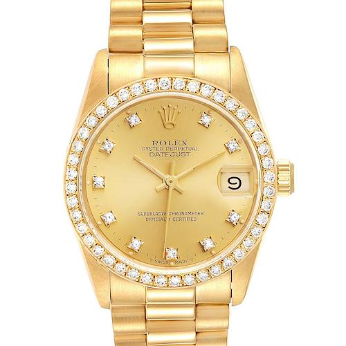 Photo of Rolex President Datejust 31 Midsize Yellow Gold Diamond Ladies Watch 68288