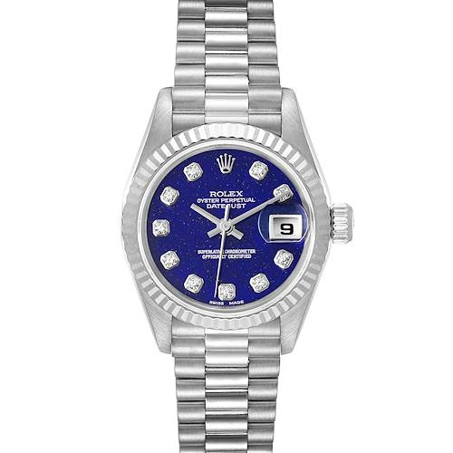 Photo of Rolex President Datejust White Gold Lapis Lazuli Diamond Ladies Watch 69179