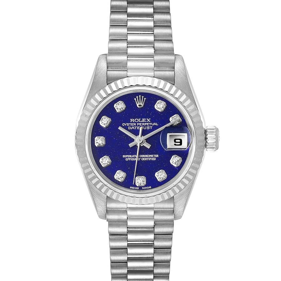 Rolex President Datejust White Gold Lapis Lazuli Diamond Ladies Watch 69179 SwissWatchExpo