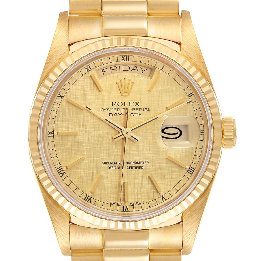 Rolex President Day-Date 36mm Yellow Gold Mens Watch 18038 SwissWatchExpo