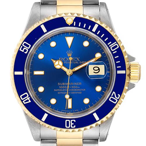 Photo of Rolex Submariner Blue Dial Steel Yellow Gold Mens Watch 16613 Box Service Card