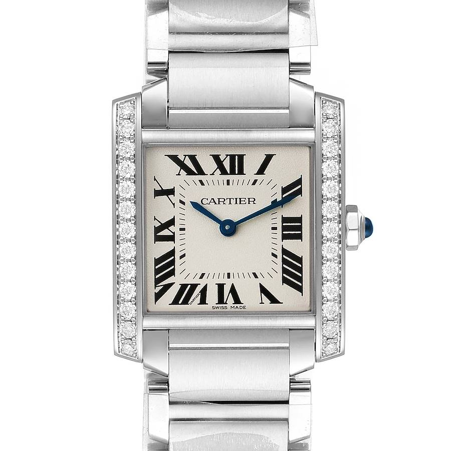 Cartier Tank Francaise Midsize Diamond Steel Ladies Watch W4TA0009 Unworn SwissWatchExpo