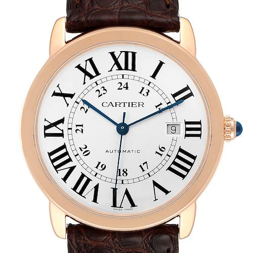 Cartier Ronde Solo XL Rose Gold Steel Mens Watch W6701009 Box Papers