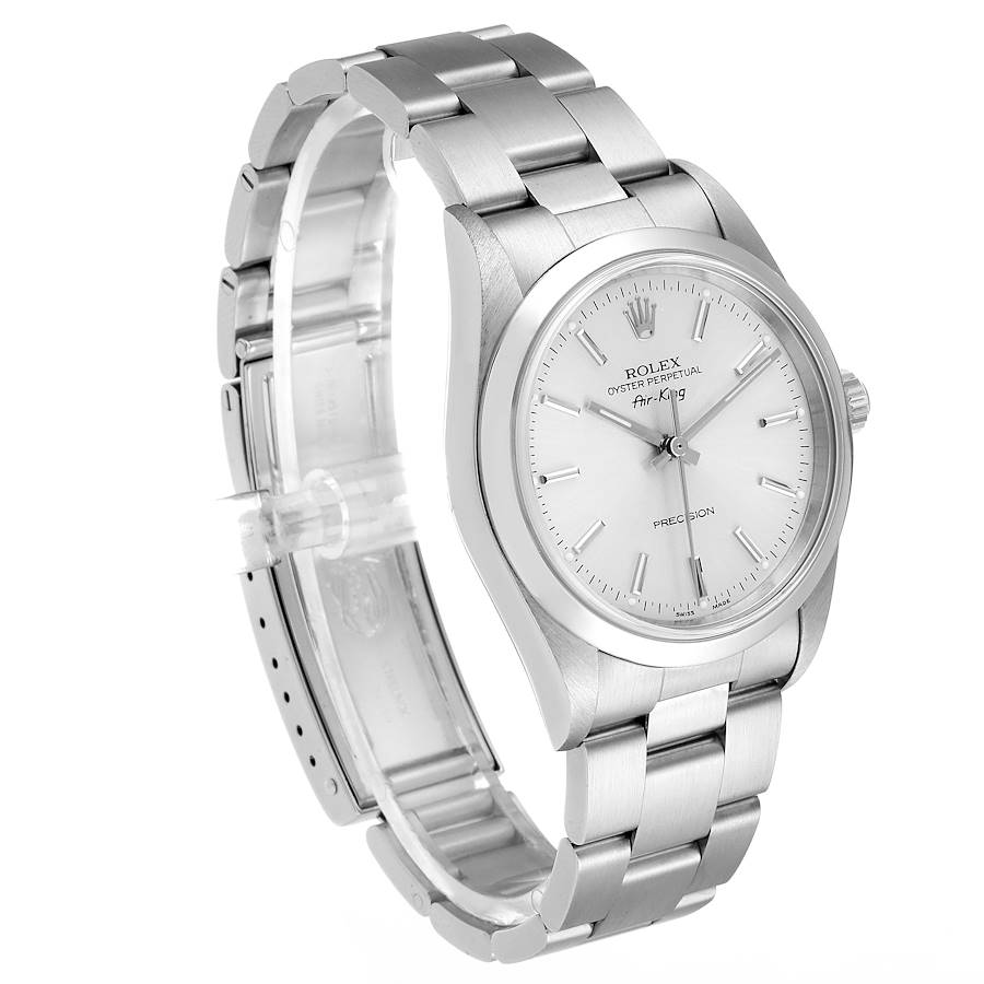 Rolex Air King 34mm Silver Dial Smooth Bezel Steel Mens Watch 14000 SwissWatchExpo